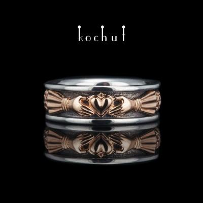 Кладдахское кольцо «Сердце маркиза». Серебро, оксидирование, красное золото