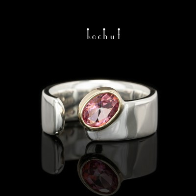 Ring «The Pink Lagoon». Silver, gold, pink topaz