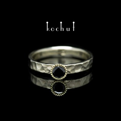 "Ring ""The Vitamin"". White, yellow gold, black spinel"