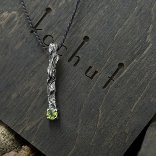 """The pendant """"Little twig"""". Silver, oxidation, chrysolite"""