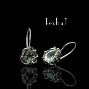 "Earrings ""Aurora"". Silver, gold, oxidation, green amethyst"