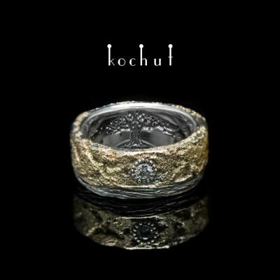 """Каблучка """"Душа і тіло"""" з корою і деревом життя. Срібло, жовте золото, діаманти"""
