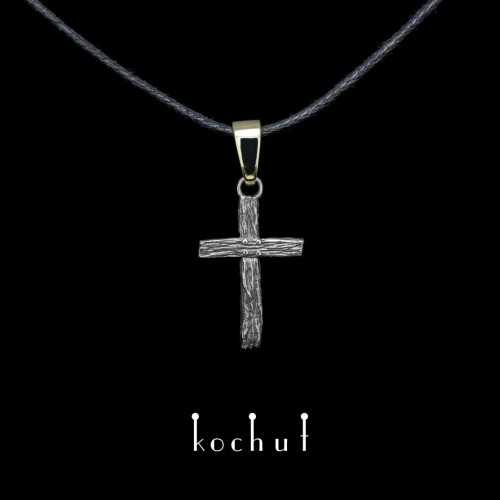 """Small cross """"Life-giving"""". Silver, gold"""