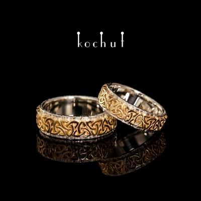 """Обручальные кольца """"Кельтский узор"""". Серебро, желтое золото"""