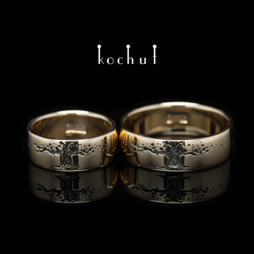 "Wedding rings ""The Tree of Life"". Red Gold, black rhodium"