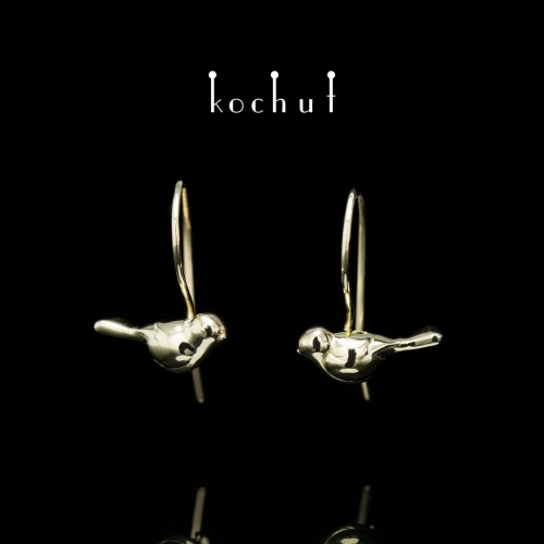 Earrings «Birds» with aFrench clasp. Yellow gold
