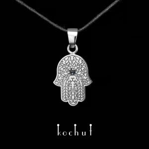 """The pendant """"Hamsa"""". Silver, sapphire, oxidation"""