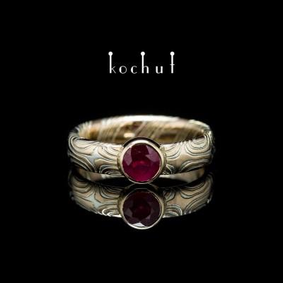 Кольцо «Мокуме». Красное золото, травленое серебро, рубин