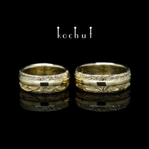 """Wedding rings """"In joy and in sorrow"""". White, yellow gold"""