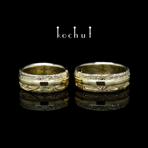"Wedding rings ""In joy and in sorrow"". White, yellow 14K gold"