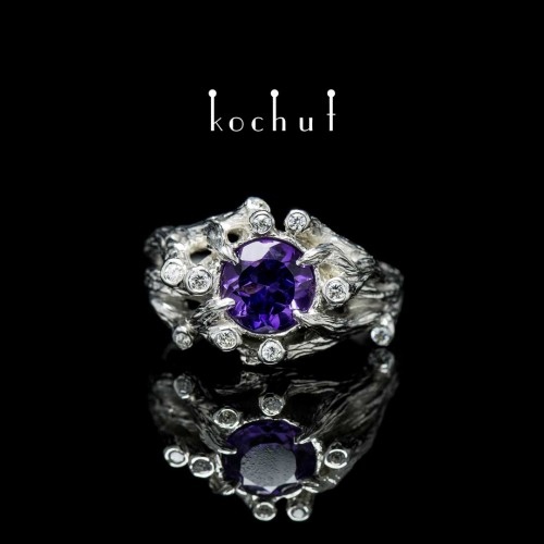 """Ring """"The bewitched forest"""". Silver, white rhodium, amethyst, cubic zirkonia"""