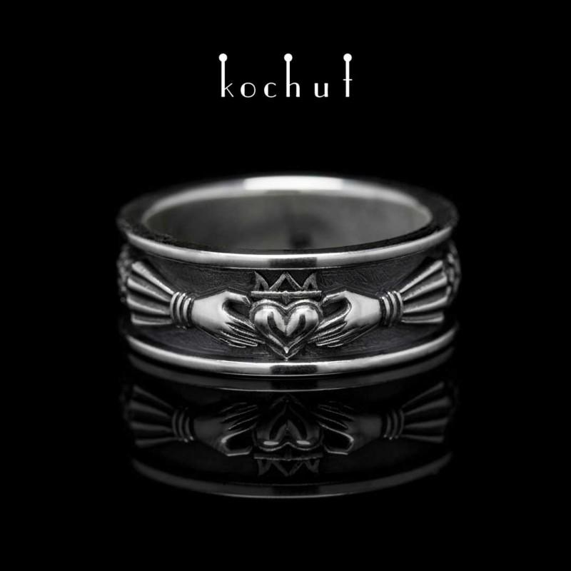 Pánský prsten «Claddagh». Stříbro, oxidace