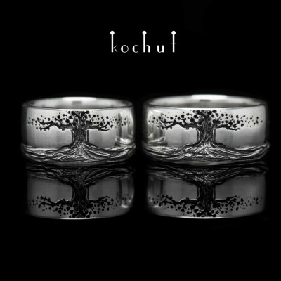 Glossy wedding rings «Tree of life, roots». Silver, oxidation