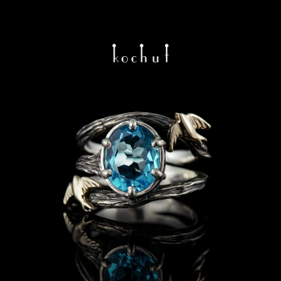 Ring of the Swallow. Silver, white gold, topaz, oxidation