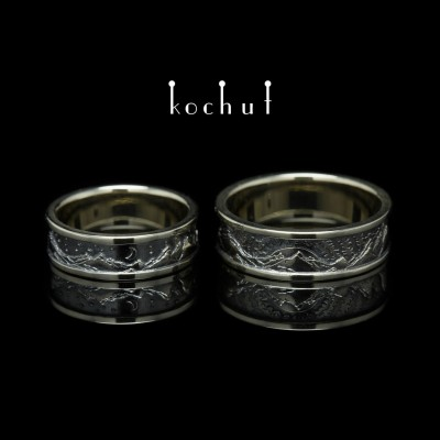 "Wedding rings ""Peaks of Love: the sun and the moon"". White gold, black rhodium"