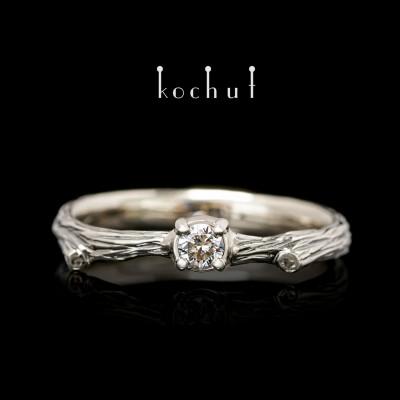 Prsten «Křehká větvička». Bílé zlato, černé rhodium, briliant