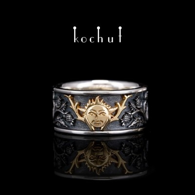 """Ring """"The Alchemy of Love, the Sun"""". Silver, yellow gold"""