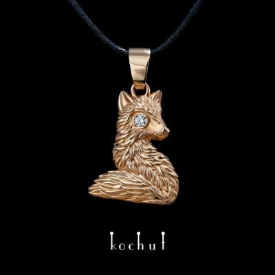 Přívěsek «Liška». Červené zlato, briliant