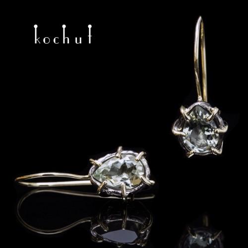 Сережки «Аврора» іззолотим французьким замком. Срібло, золото, оксидування, зелений аметист