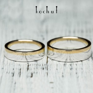 """Wedding rings """"Horizon of Love"""". Silver, red gold"""
