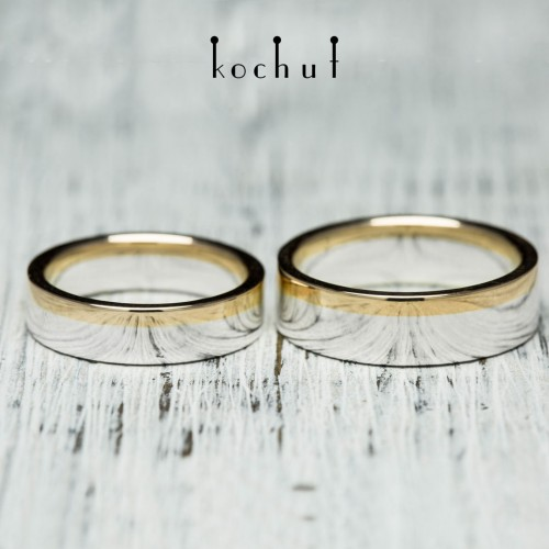 "Wedding rings ""Horizon of Love"". Silver, red gold"