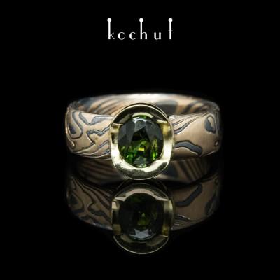 """Кольцо мокуме """"Софора"""". Серебро, красное, желтое золото, оксидирование, турмалин"""