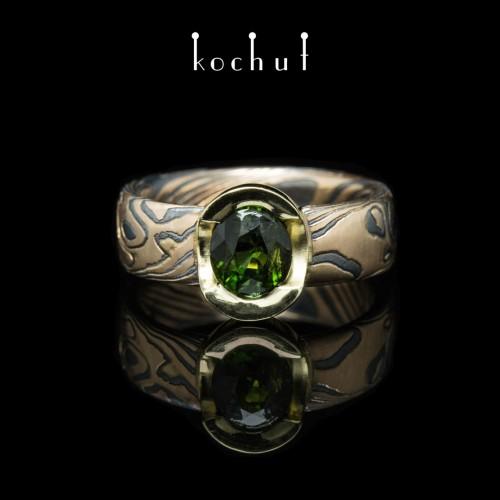 "Ring ""Mokume. Sophora"". Silver, red, yellow gold, oxidation, tourmaline"