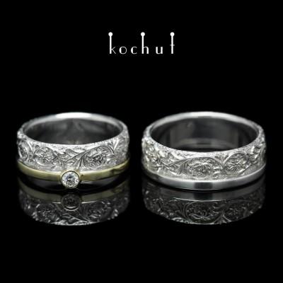 """Обручки """"Гармонія природи"""". Срібло, золото, білий родій, діамант"""