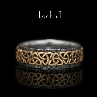 Prsten «Keltský vzor». Stříbro, žluté zlato