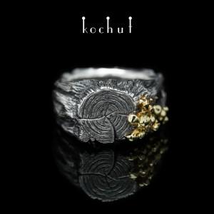 "Ring ""Forest Samsara. Honey fungus"". Silver, yellow gold, oxidation"
