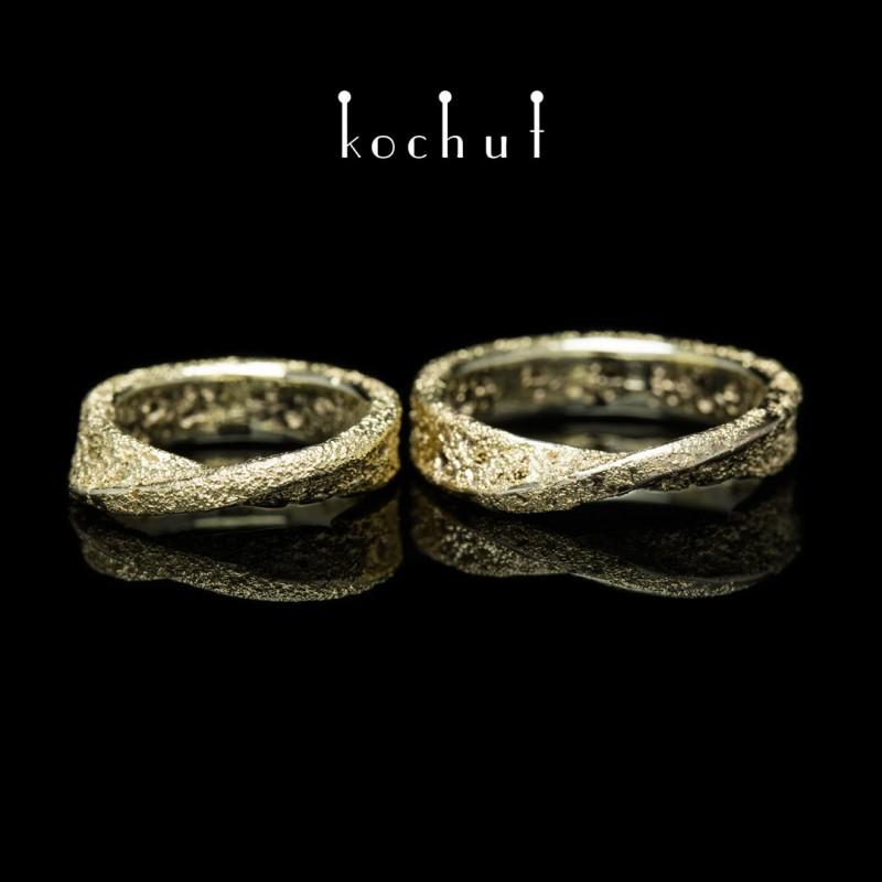 """Обручки """"Кельтська стрічка Мебіуса"""". Біле золото, наплавлення жовтого золота"""