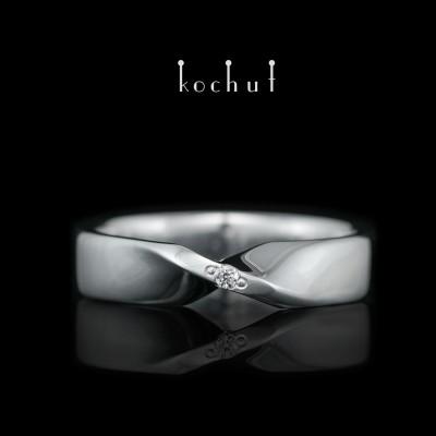 Prsten «Stuha Möbiova». Stříbro, kubický zirkon, bílé rhodium