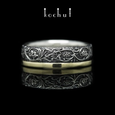 Ring «Harmony of nature.» Silver, black rodium, yellow gold