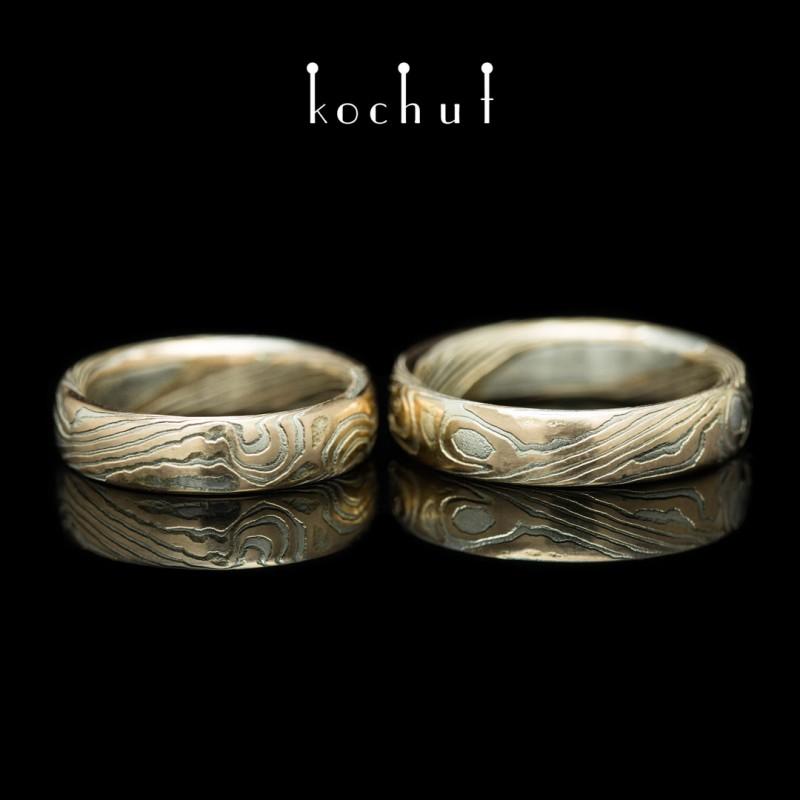 Mokume wedding rings «Sophora». Red gold, silver