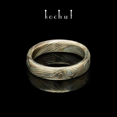 """Ring  """"Mokume. Honigbaum"""". Roségold, geätztes Silber"""