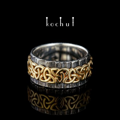 Široký prsten «Keltský vzor». Stříbro, žluté zlato, oxidace