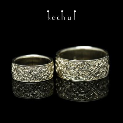 """Обручальные кольца """"Венецианская ночь"""". Белое золото"""