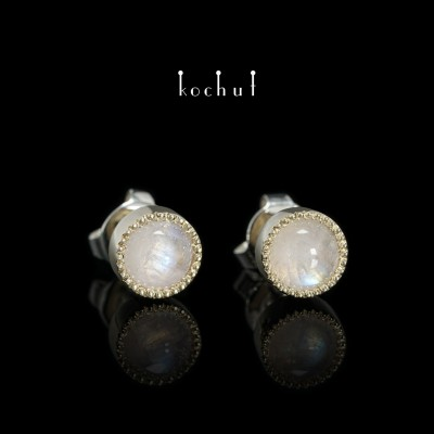 """Earrings """"Supermoon"""". Silver, yellow gold, moonstone"""