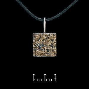 """Pendant """"Soul and body."""" Silver, fusing of yellow gold, oxidation"""