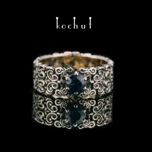 "Ring ""Notre Dame"". White gold, sapphire, black rhodium"