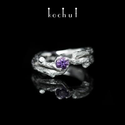 Prsten «Větvička». Bílé zlato, ametyst, bílé rhodium