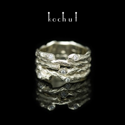 Prsten «Široká větvička». Bílé zlato, brilianty