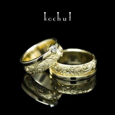 Wedding rings «Invincibility of feelings». Yellow gold, cubic zirconia