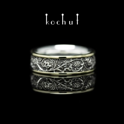 Ring «Harmony of nature» with two rims. Silver, yellow gold, black rhodium