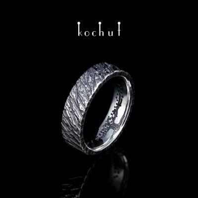 Prsten «Strom života, jasanová kůra». Stříbro, oxidace