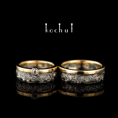 Wedding rings «The insurmountability of the senses.» Silver, black rhodium, yellow gold, diamond