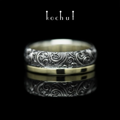 Ring «Insuperability of the senses». Silver, yellow gold, oxidation