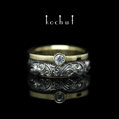 Ring «Invincibility of feelings» Silver, yellow gold, black rhodium, cubic zirconia