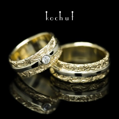 Wedding rings «In joy and in sorrow». 18K White and yellow gold, diamond