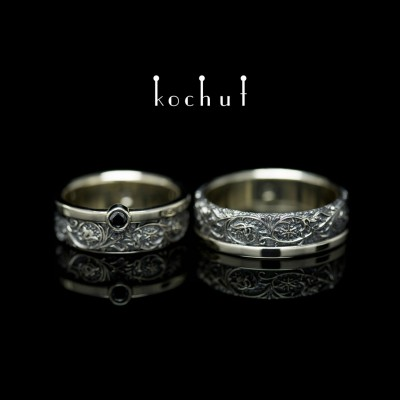 Wedding rings «Harmony of nature». White gold, black rhodium, black diamond